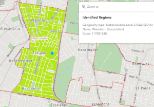 Australian Bureau of Statistics Map of Waterloo - Beaconsfield Statistical Area Level 2