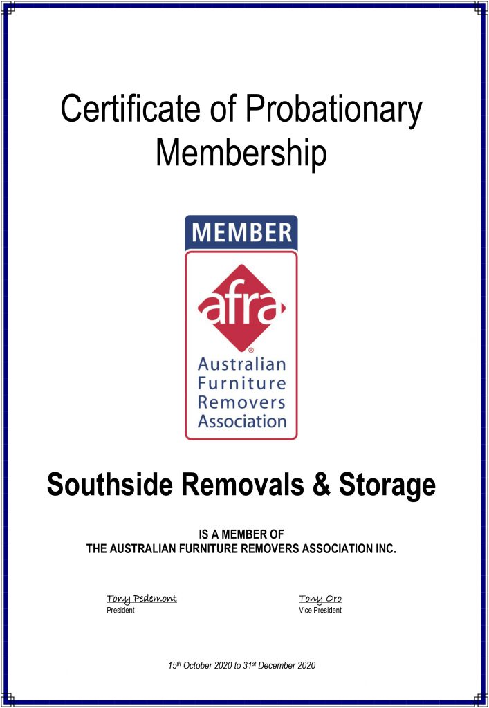 Southside Removals is a member of AFRA Certificate